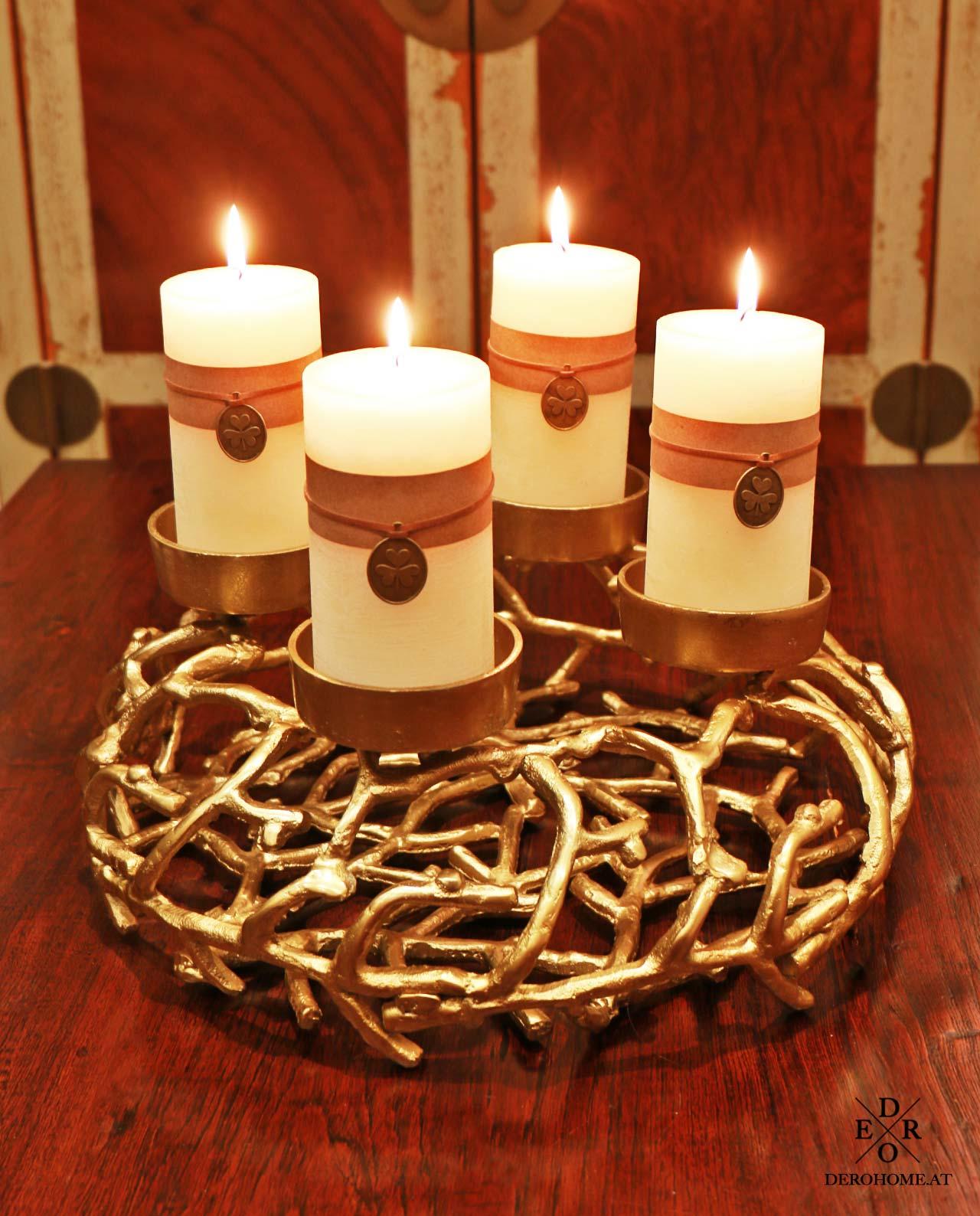 adventskranz klein noel gold derohome at. Black Bedroom Furniture Sets. Home Design Ideas